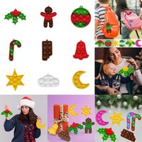 9PCS LOT christmas crutches holly leaf chocolate bell star moon circle fidget toy push bubble finger puzzle kids board game xmas poo-its party gifts H918IBXK