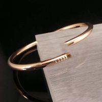 Luxusmode Nagel Armreif Kopf und Schwanz Diamant Rose Gold Charme Paar Liebe Schmuck kommt mit Geschenkbox Verpackung