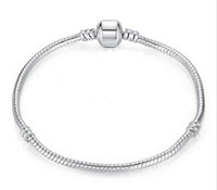 chain Wholesale-size Snake 17-21cm 925 Silver Plated with Barrel Clasp diy beads Fit Pandora Bracelet Jewelry pulseras