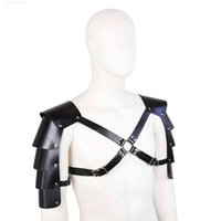 Sm Sex Toys Male Role-playing Props Black Leather Double Shoulders Multi Piece Shoulder Strap Binding Armor