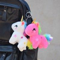 Брелок Rainbow Unicorn Куклы плюшевые игрушки Небольшой кулон Мини Кукла Schoolbag Headchain Пальчики Маркирки Мультфильм Ключевые Игрушки G31907