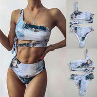 Women's Swimwear Two Piece Swimsuit Women Bikini Set With Cover Up Striped Push High Cut Hight Waist Halter Bandange Gift