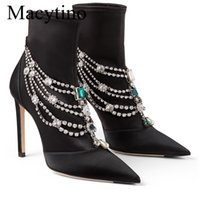 Boots Luxury Jewelry Necklace Wristed Ankle Satin Black Pointed Toe High Heel Formal Shoes Women Party URYT