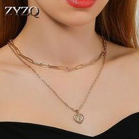 Chains ZYZQ Gold Color Metal Sweet Heart Pendent Bridal Wedding Necklace Shiny Double Layer Good Quality Female Trendy Jewelry 2021