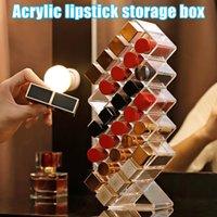 16/10/28 Grids Acrílico Maquillaje Organizador Caja de almacenamiento Cosmetic Lipstick Funda Holder Hogard Cajas Bins