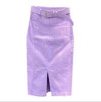Skirts 2021 Spring Summer Purple Denim Skirt Women Fashion High Waist Package Hip Split Step Jeans P2255