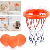 Venta al por mayor 50 PCS Tiro para niños Bañera de bañera Juego de agua para juguetes de baño de bebé Chica con 3 mini Baloncesto de plástico Ducha divertida