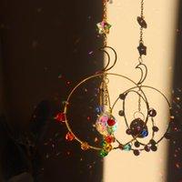 Jardim decorações moda metal arco-íris coleção hangings star lua cristal prismas currency shimes decoração janela carros pendurados