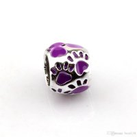 50 unids púrpura de esmalte huella gran agujero espaciador espaciador de cuentas para joyería haciendo pulsera collar de bricolaje accesorios de bricolaje 8x10mm