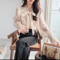 Women's Blouses & Shirts Women Blouse Spring Handmade Embroidery Design Bow Long Sleeve Top Blusas Mujer De Moda