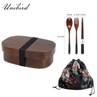 Dinnerware Sets Unibird Wooden Lunch Box For Kids With Comparments Natural Wood Bento Container Strap 700ml Square