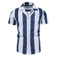 Negizber 100% Pamuk Çizgili Keten Gömlek Erkekler Kısa Kollu Moda Takım Elbise Yaka Plaj Gömlek Erkekler Için Yeni Erkekler Yaz Gömlek 210323
