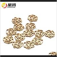 1517mm Hohe Qualität Goldsilver Farbe Edelstahl Rose Blume für Schmuck DIY Machen Halskette Anhänger Erkenntnisse Großhandel OBXHA MXKJK