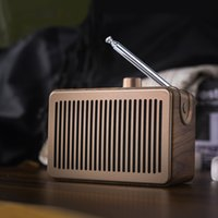 retro style wood grain radio mini bluetooth speaker wireless card custom desktop home small stereo