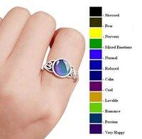 925 مزيج الفضة حجم المزاج حلقات الغرق التغييرات اللون إلى درجة حرارتك تكشف عن عاطفك الداخلية خاتم البنصر السائبة
