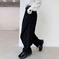 Брюки 2021 Мужчины с повседневными длинными ногами костюм мужского пола Винтаж Улица мода Регулируемый хип-хоп HEL CON CON CONEL HAREM DK48