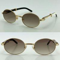 Großhandel Verkauf 7550178 Runde Sonnenbrille Original Natürlich Original Büffel Horn Weiß Inside Schwarze Brille draußen Fahren Brille Männliche Eyewear