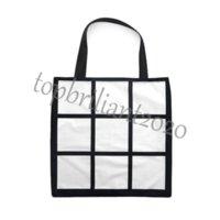 Sublimationsgitter-Taschen-Tasche leere weiße DIY-Wärmeübertragung Einkaufstasche 9 Panels Tuch Frabic wiederverwendbarer Aufbewahrung Geschenkbeutel Handtasche