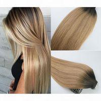 Cinta en extensiones de cabello humano Ombre Hair Hair Brasil Virgin Hair Balayage Brown Oscuro a 27 Extensiones rubias Destacan la trama de la piel