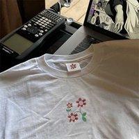 21SS Men T Shirt Unisex Manica Corta Donne Casual Abbigliamento Casual Stile Strada Street Street Hip Hop Boy Top di alta qualità Lettera Stampa Tee Fiore Fiore