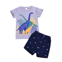 Boys Letter Denim Outfits Toddler Baby Cartoon Dinosaur Printed Tops Kids Casual Clothes Boys Christmas Longsleeve Clothes Sets 06
