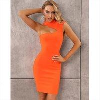 Solid Nude Summer Fashion Womens Dresses Sexy Turtleneck Orange White Bandage Designer Evening Party Vestido