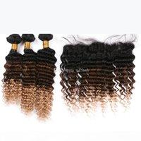 Honig blonde volle Spitze-Frontal mit tiefen lockigen Haarverlängerung Tiefwelle 1b 4 27 Haarspülen mit Spitzenfrontal