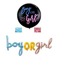 36inch Large Black Latex Balloon Background Articles for Party Decoration Gender Reveal boy or girl Foil Balloon 210428