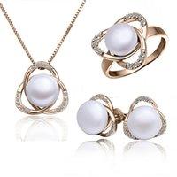 Ohrringe Ring Pendent Halskette Set für Frauen Rose Gold Gefüllte Simulierte Perle Perle Ball Schmucksets
