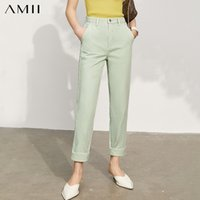 Amii Minimalism Spring New Offical Lady Cotton Solid Straigh...