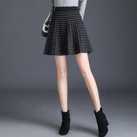 Skirts 2021 Women Autumn Winter Vintage Knitted Female Plaid High Waist A- Line Mini Skirt Lady Casual Loose Pleated Faldas G265