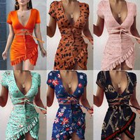 Floral Print Fashion Tie Up Wrap Mini Dress 2021 Summer Holiday Ruffles Sundress Ruched Women's casual dresses Short Sleeve S-3XL 051901