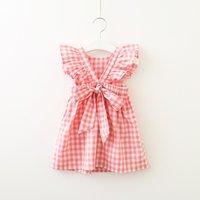Baby lattice dress children fly sleeve Plaid Princess Dresses summer fashion Kids Clothing Boutique V Backless girls dress 2 colors Z4524