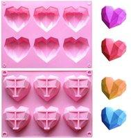 6 полость 3D Diamond Форма сердца формы сердца 100% продовольственный силиконовый десерт пресс-формы без палочки легкий выпуск плесень торт конфеты льда кубик мыльный поднос подарок