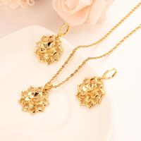 Earrings & Necklace Gold Dubai India Flower African Jewelry Set Pendant Ethiopia Wedding Bridl Sets For Women Girl Gifts