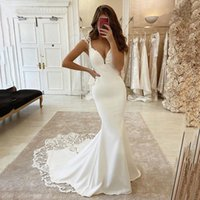 Vestidos de casamento sereia sexy v pescoço cetim applicado laço vestido nupcial vestido de novie vestidos de casamento plus size