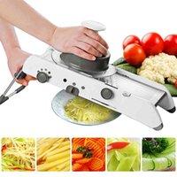 Mandoline Gemüse Slicer Manuelle Schneidreißer mit einstellbarer 304 Edelstahlklingen für Home Tools Küchenzubehör 210326