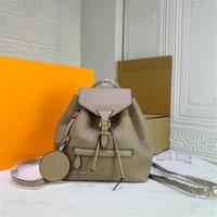 designer Montsouris Backpacks The Embossed Pattern Genuine Leather in 4 Colors WOMEN Travel Bag Designer Buckle Tie Rope