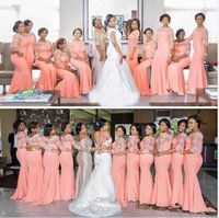 Coral Lace Bridesmaid Dress Mermaid Half Long Sleeves Jewel Neck Maid Of Honor Party Gowns Wedding Guest 2022 Formal Dresses Plus Size