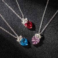 Pendant Necklaces European And American Fashion Queen Women's Crown Peach Heart High-grade Clavicle Chain Love Necklace