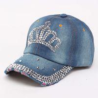 اليدوية النساء المتعثرة الدنيم قبعة بيسبول رئيس حجر الراين الجينز إلكتروني الحب bejeweled ولي البريق بلينغ قبعة