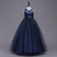 Girl's Dresses Kids Teenage Girls Clothes Children Wear Birthday Long Lace Pettiskirt Party Formal Princess Dress B5604
