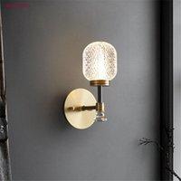 Wall Lamps American Luxury Glass Water Ripple Led Lamp Hallway Living Room Decoration Home Lighting Fixtures Bathroom Aisle Art Luster