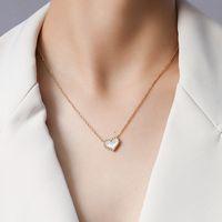 Ins Trend Peach Heart White Seashell Pendant Love Necklace Female Clavicle Neck Chain Popular Jewelry Steel P790 R1K6719