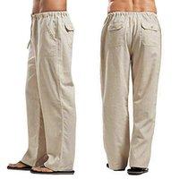 Pantalones para hombres Siperlari pantalones de lino ancho Monos de verano Super Plus Tamaño 5xl transpirable Sweat-Absorbent Wide Pierna