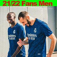 Real Madrid Away Blue Fussball Jersey 21/22 Männer Home White # 9 Benzema # 10 Modric # 7 Hazard Soccer Hemd 2021/2022 # 8 Kroos # 11 Asenssio # 4 Alaba # 17 Lucas V. Fußballuniform