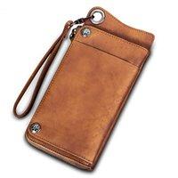 2021 new vintage men's wallet long zipper leather card holder quality cowhide handbag