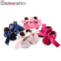First Walkers Balleenshiny Ribbon Baby Princess Shoes Soft Sole Kids Born Accessories Shower Gifts Girls Walker