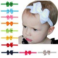 QNSP 20 Colors Newborn Baby Girls Headbands Flower Grosgrain Ribbon 8cm Bow Elastic Head Bands Kids Bowknot Hairbands Children Hair Accessories