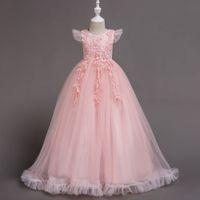 children's wedding dress Flower Girls' Dresses tail Princess skirt million Christmas Girls White Gowns Baby Children Ball